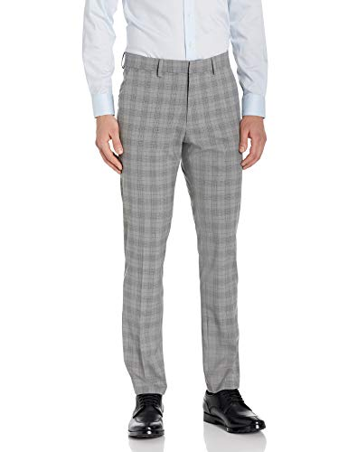 Kenneth Cole REACTION Men's Slim Fit Suit, Gray Plaid, 40 Short