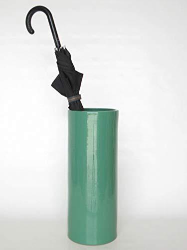 POLONIO - Paraguero de Ceramica Verde de 50 cm - Bastonero de Ceramica para Entrada y Pasillo - Jarron de Ceramica Grande Suelo Color Verde Aguacate
