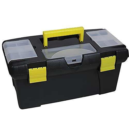 LANGCA Caja de Herramientas, Mango cómodo Plegable y Tapa Desmontable con Compartimento, Caja de Almacenamiento de Garaje y Caja de Herramientas de Hardware