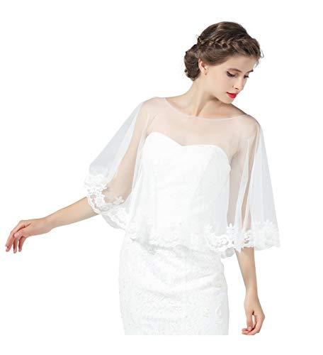 BEAUTELICATE Damen Umhang Cape Spitze Retro Stola Schal Boleros 1920s Tüll Top Transparent Für Hochzeit Braut Abendkleid Brautkleid Weiß