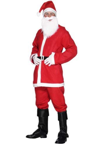 Smiffys, Herren Weihnachtsmann Kostüm, Jacke, Hose, Bart, Mütze und Gürtel, Größe: L, 20841