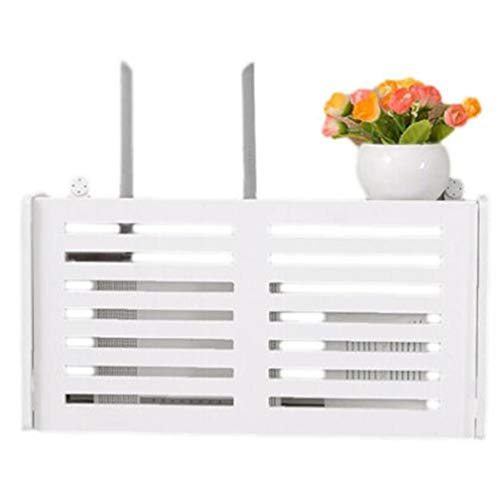 LAVALINK Bodenträger-Box WiFi Router Regal Aufbewahrungsbox Kabel Power Plus Drahtbügel Aufbewahrungsbehälter-Holz-Kunststoff-Wand-Regal Hänge Steckerhalter Box (Random Style)