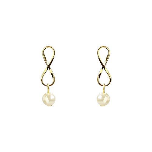 bjyxszd Regalo Cumpleaños Mujer, Pendientes de Perlas geométricas de Metal de Viento de Aguja S925, Pendientes literarios de Mariposas Dulces y juguetones
