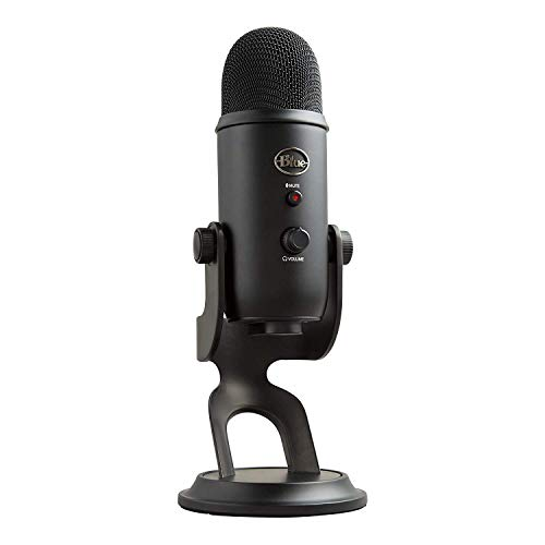 Blue Yeti USB Microphone for Recording, Streaming, Gaming, Podcasting on PC and Mac, Condenser Mic for Laptop or Computer with Blue VO!CE Effects, Adjustable Stand, Plug and Play – Blackout