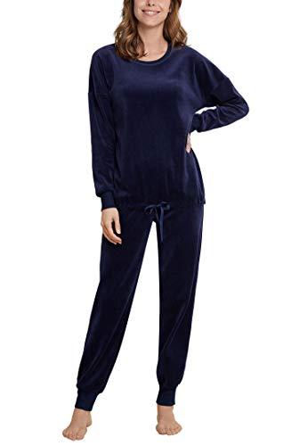 Seidensticker Damen Loungeanzug Zweiteiliger Schlafanzug, Blau (Navy 815), 38 (Herstellergröße: 038)