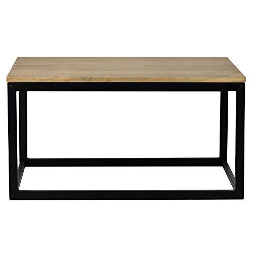 Mesa de Centro iCub 50x80 42cm Altura Estilo Industrial Acabado Vintage Negro