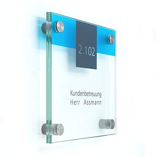 Türschild Glas Vitrum B4 (150/150 mm)