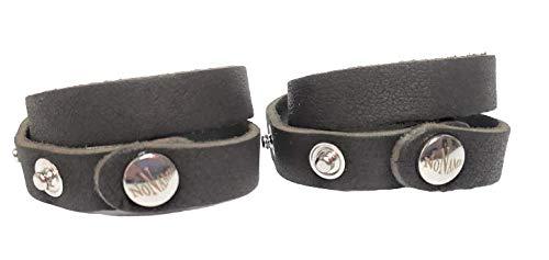 NN Pulseras DuoBlack para trenzar de piel, para usar en pareja o compartir dos pulseras idénticas, con botón a presión y caja de regalo, simple y versátil, idea regalo para parejas. Negro