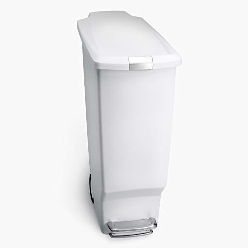 simplehuman, 40 Liter, schmaler Treteimer, weiß, 5 Jahre Garantie