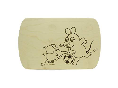 Salewsky Qualitätsholzwaren Frühstücksbrett mit Kostenloser Gravur 24x15cm Maus Elefant Fussball TV Serie Sendung mit der Maus Ahorn