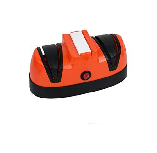 LYzpf Affilacoltelli Elettrico Coltelli da Cucina Portatili Affilatura di Posate Professionali Utensili da Taglio per Chef e Uso Domestico,Orange