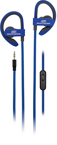 Skechers Wired Comfort Fit Active Earbuds with Ergonomic Over Ear Hooks, Blue