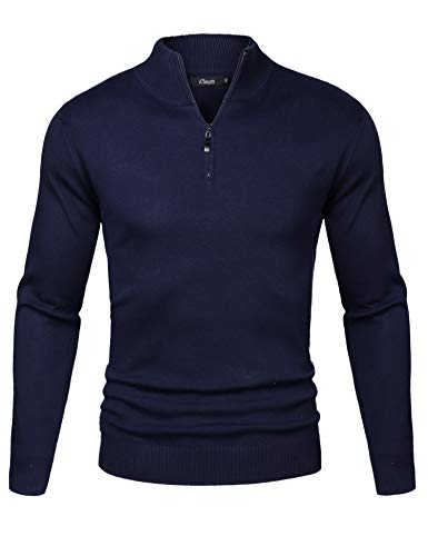 iClosam Mens Casual Slim Fit Zip up Polo Sweaters Mock Neck Pullover Sweaters with Ribbing Edge Dark Blue
