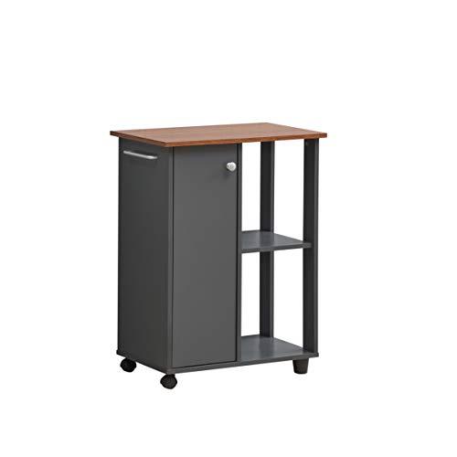 "Hodedah 23.6"" Wide Open Shelves and Cabinet Space Kitchen Cart, Grey-Oak"