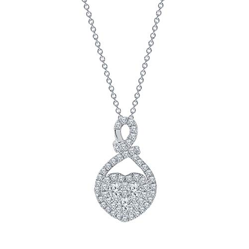 Elmas 1/2ct Round Lab Grown Diamond Sterling Silver Heart Love Pendant Necklace for Teens Womens with G-H VS-SI Quality. for Valentine's Day,Mother's Day
