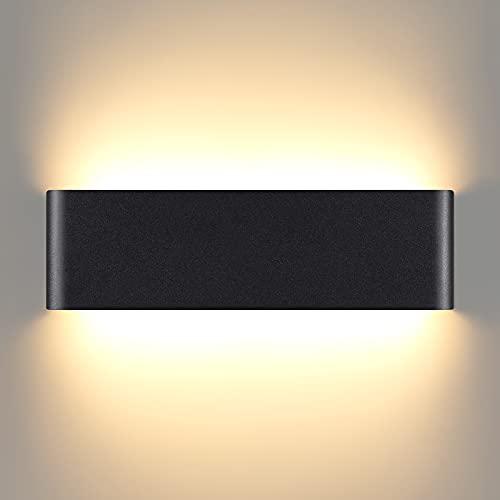 Aplique Pared Interior, 16W LED Lámparas de Pared Moderno Negro, 3000K Blanco Cálido Luz LED Pared decorativo, Lampara pared perfecta para Sala de Estar, Dormitorio, Pasillo, Balcón (Blanco cálido)