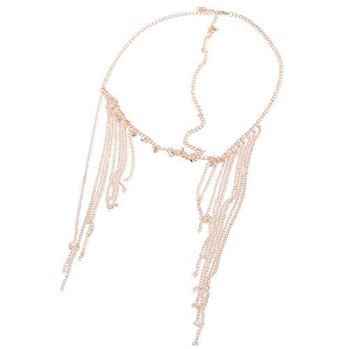 Lurrose Boho cabeza cadena de la borla del casco de la aleación de la cadena del pelo broche de pelo cadena pendiente accesorios para el cabello nupcial