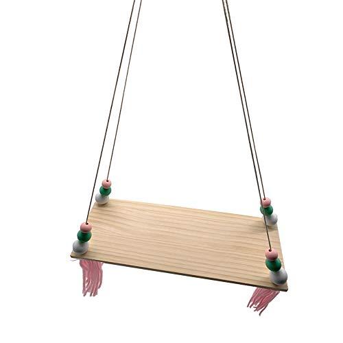 HPiano Baldas Flotante de Madera de Estilo Nórdico con Cuentas Oscilante y Borlas Tablero Swing Ornament Decoración de Habitación de Niños o Bebés, (38cm x 14cm x 1cm)