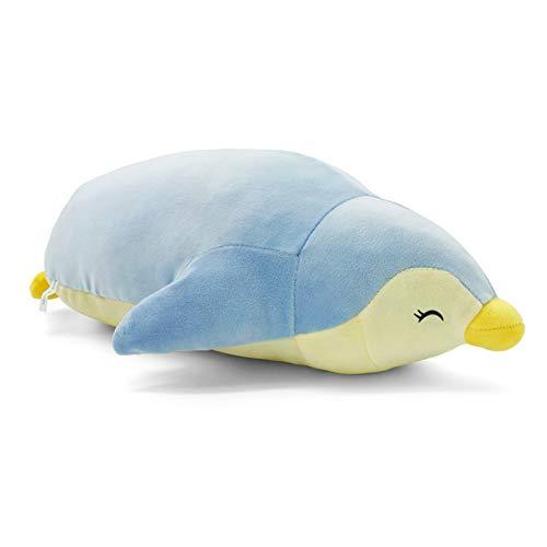 RIHUD Lindo pingüino relleno animal suave algodón felpa juguetes cojín almohadas regalo para Halloween Navidad azul 50 cm medio