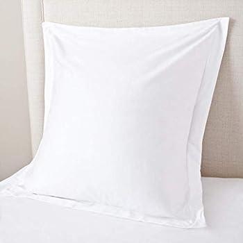 Ocean Deal European Square Pillow Shams Set of 2 Pillowcase Euro Shams 26x26 White Pillow Covers 2 Pack European Pillow Shams White Solid 600 Thread Count 100% Egyptian Cotton