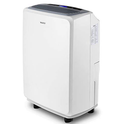yaufey 30 Pint Dehumidifier for Home Basements Bedroom Garage, Mid-Size Portable with Continuous Drain Hose Outlet and Wheel, 4 Gallons/Day Intelligent Humidity Control for Space Up to 1500 Sq Ft