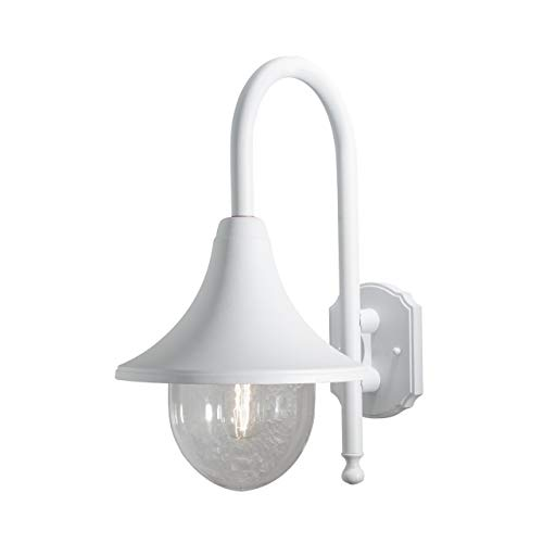 Konstsmide Bari 7237-250 Wandleuchte / B: 25cm T: 36cm H: 44cm / 1x75W / IP44 / lackiertes Aluminium / matt-weiß