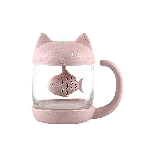 Katzen Glas Tee Becher Wasser Flasche mit Fisch Tee Infuser Sieb Filter 250ML (8OZ)