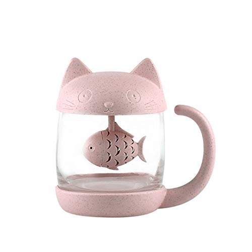 Taza de te de cristal del gato Taza De Agua Bottle-With Fish Tea Filtro filtro de infusion 250ml (8oz) (Rosa)