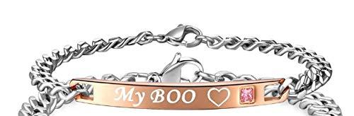 IFABIT Mijn Boo & Mijn Bae Naam Armbanden Voor Vrouwen Mannen Bijpassende Paar Armbanden Crystal Stone Charm Armbanden Link Chain