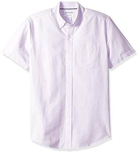 Amazon Essentials Men's Regular-Fit Short-Sleeve Pocket Oxford Shirt, Lavender, X-Large