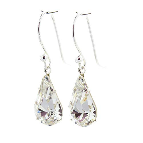 pewterhooter 925 Sterling silver drop earrings for women made with sparkling Diamond White teardrop crystal from Swarovski. Gift box. Made in the UK. Hypoallergenic & Nickle Free for Sensitive Ears