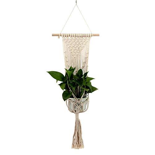 EDCV Boheemse Tapestry muur opknoping Nordic stijl handgeweven Tapestry bloempot opknoping netto zak muur opknoping mand, Beige
