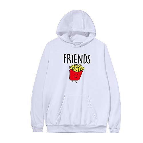 Best Friends Pullover für Zwei Mädchen Beste Freunde Hoodie BFF Pullover Sister Kapuzenpullover Damen Pulli Sweatshirt 1 Stück, Weiß-friends, S