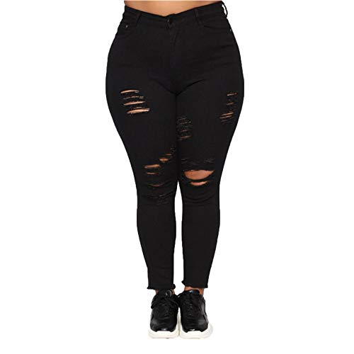 Womens Ripped Plus Size Jeans High Waisted Distressed Pants Destroyed Hole Denim Pants Long Boyfriend Jeans (XX-Large,Black)