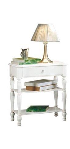 Table de Chevet, Style Classique, en Bois Massif et MDF avec Finition Blanc Mat - Dim. 56 x 46 x 63