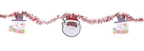 TOYLAND® - Guirnalda de oropel de 7 pies con Papá Noel y muñecos de Nieve - Decoración del árbol de Navidad