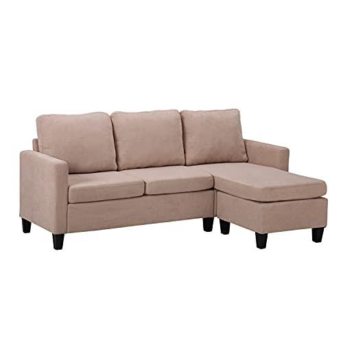 GEFUHONG Sofá de combinación doble chaise longue, diseño convertible, sofá en forma de L, fácil montaje, tela tapizada moderna duradera, son extraíbles, beige (beige)