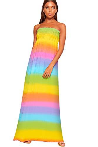 WearAll - Damen Raffen Strecke Weg Schulter Bardot Multi Farbig Maxi Kleid Damen Multi - 36-38