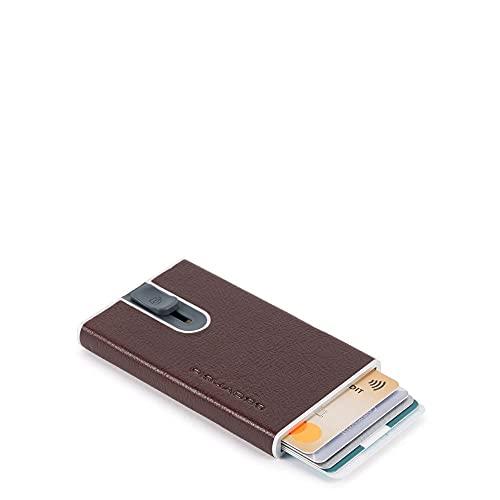 Piquadro B2S RFID - Tarjetero de piel (6 cm) marrón oscuro Talla única