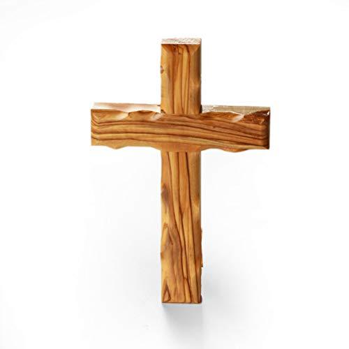 KASSIS Olivenholz Kreuz Kruzifix Wandkreuz schlicht aus Bethlehem (20 cm)