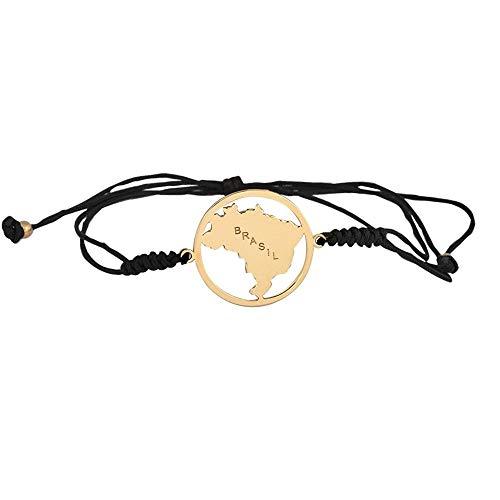Pulsera Oro Amarillo 18k modelo Bracelets (Silueta de Brasil) Circulo:20mm.