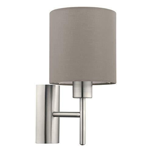 EGLO Wandlampe Pasteri, 1 flammige Textil Wandleuchte, Material: Stahl, Stoff, Farbe: Nickel matt, taupe, Fassung: E27, inkl. Schalter