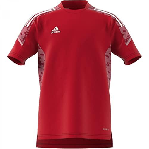 adidas, Condivo 21 Primeblue, Camiseta De Fútbol De Manga Corta, Team Power Rojo/Blanco, 1516, Unisex-Hijo