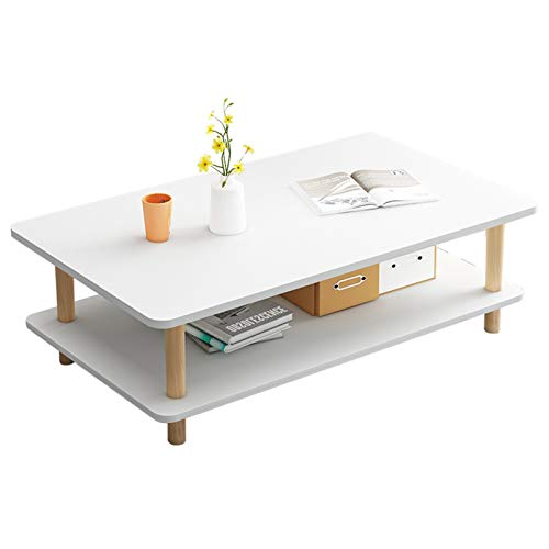 EVFIT Mesa de café para sala de estar, mesa de té con estante de almacenamiento, sofá mesas auxiliares, organizador de ahorro de espacio (color: blanco, tamaño: 100 x 50 x 43 cm)