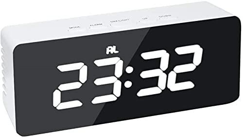 Reloj Despertador Digital Espejo LED Reloj de Mesa de repetición Digital Luz de Despertador Pantalla de Temperatura de Tiempo Grande electrónico Reloj de decoración del hogar