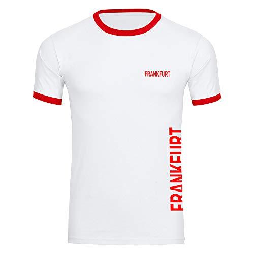 Multifanshop Herren T-Shirt Frankfurt seitlich - Schriftzug auf der Brust und auf der Seite - weiß/rot - Größe S bis 5XL - Fußball Fanartikel Fanshop,Farbe:weiß/rot,Größe:XXL