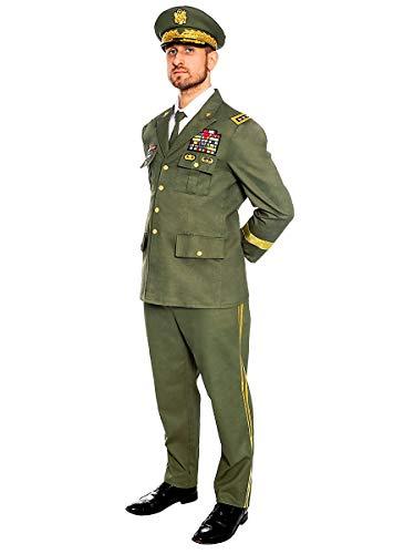 Maskworld Schneidiges General Kostüm mit Rangabzeichen und typischer Generalsmütze perfekt für Karneval Halloween Mottopartys & Halloween - Verkleidung Uniform Anzug - Größe XL