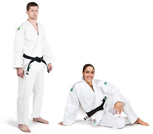 GREEN HILL Offerta FINE Serie JUDOGI Professional IJF Approved Judo Bianco GI White Kimono Unisex (Banda sulle Spalle Bianca, 200 Large Fit)