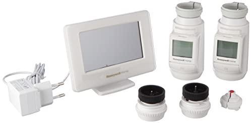 Honeywell Home THR99C3102 Kit de Inicio con termostato Inteligente evohome WiFi y 2 Cabezales para radiador inalámbricos, Ahorra energía y Dinero, Blanco (3 Piezas)