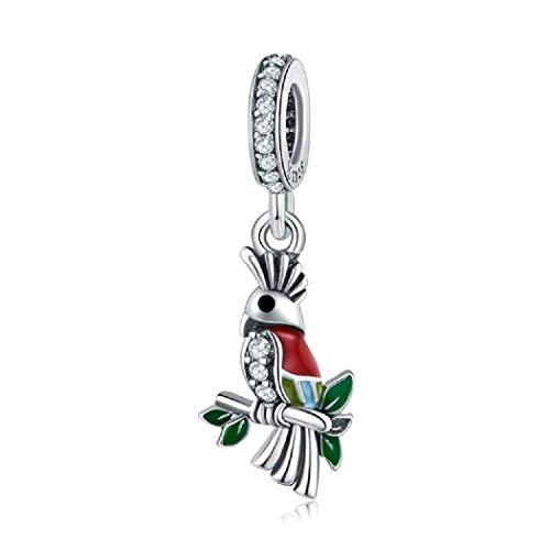 FeatherWish Anhänger mit buntem Papagei, Sterling-Silber 925, baumelnd, mit Zirkonia, für Pandora-Armband
